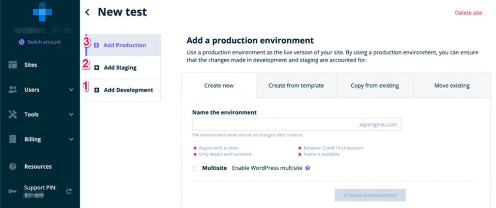 web development staging area