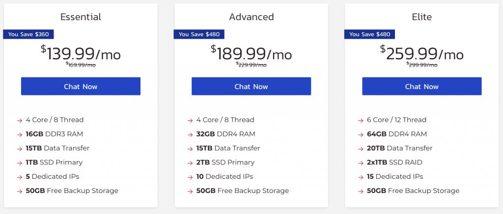 InMotion Dedicated Server Hosting Plans