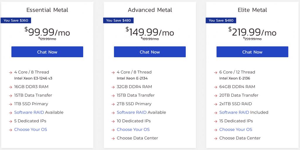 Bare Metal Server Pricing