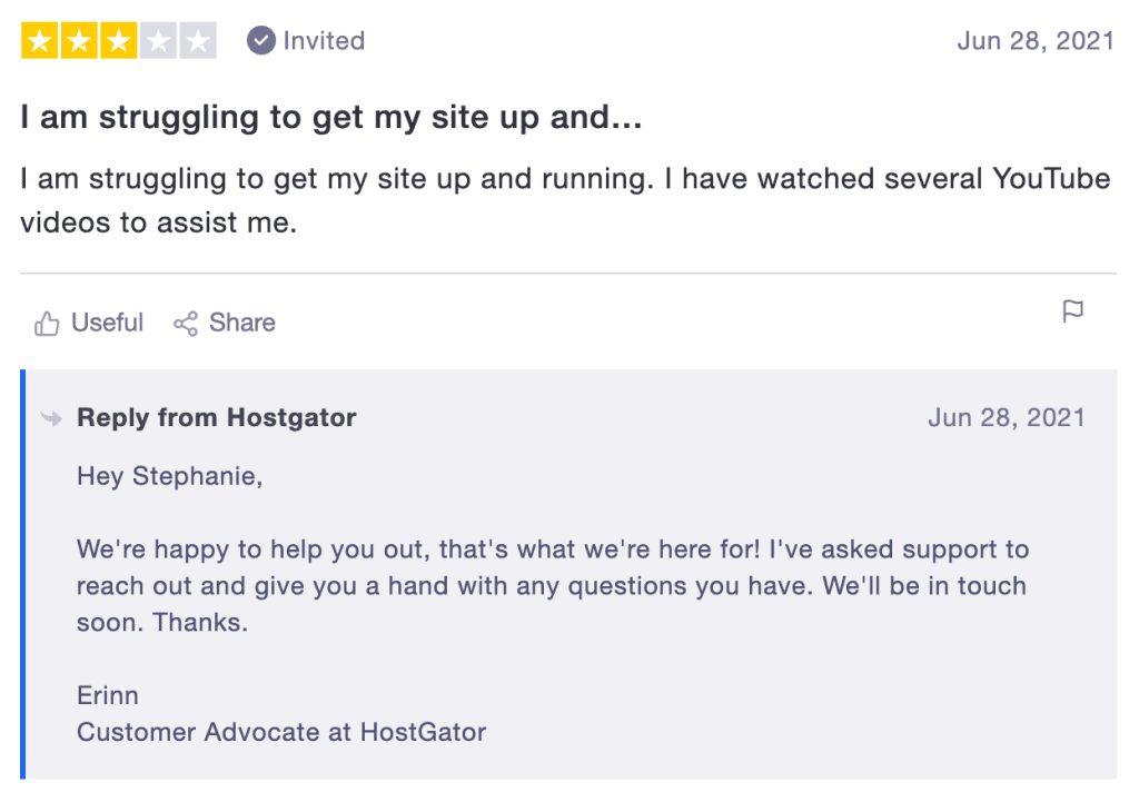 HostGator Trustpilot Review