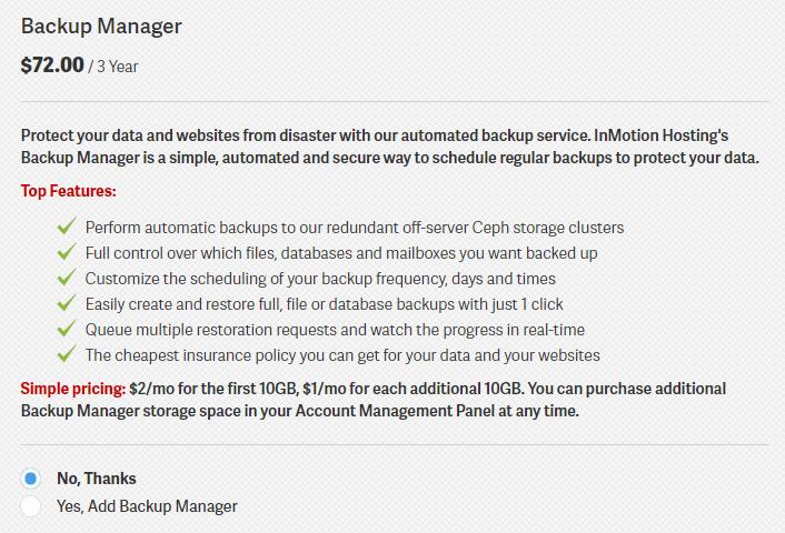 Backup Manager InMotion