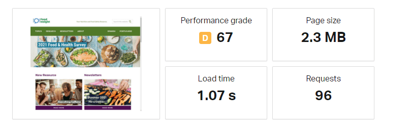 Pingdom Speed Test for InMotion Site