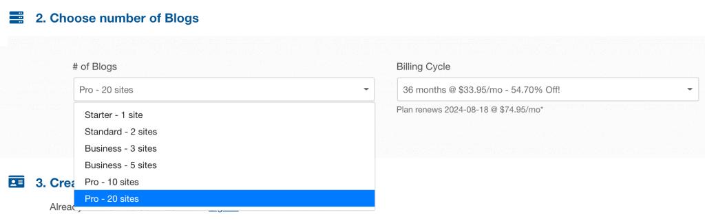 Various WordPress Hosting pricing options