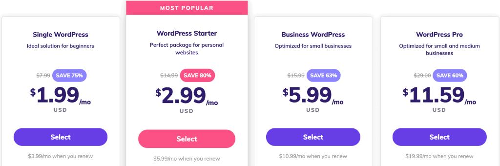 Hostinger Managed WordPress Hosting Plans