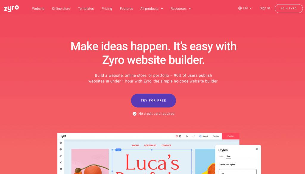 Zyro Website Builder Homepage