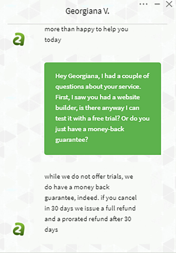 A2 Hosting Customer Support Chat