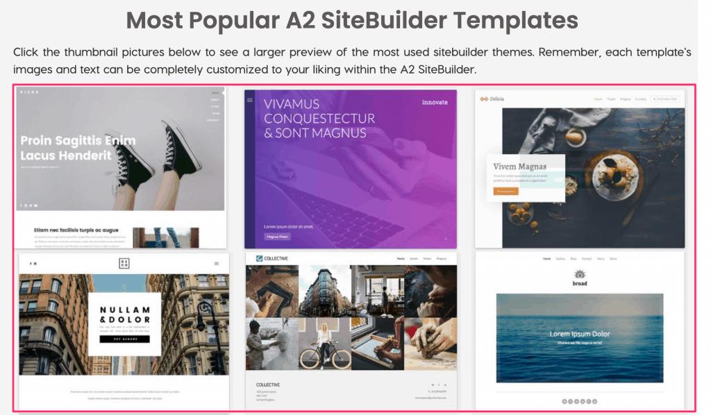 A2 Website Builder Templates