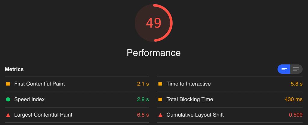 LiquidWeb Lighthouse Score