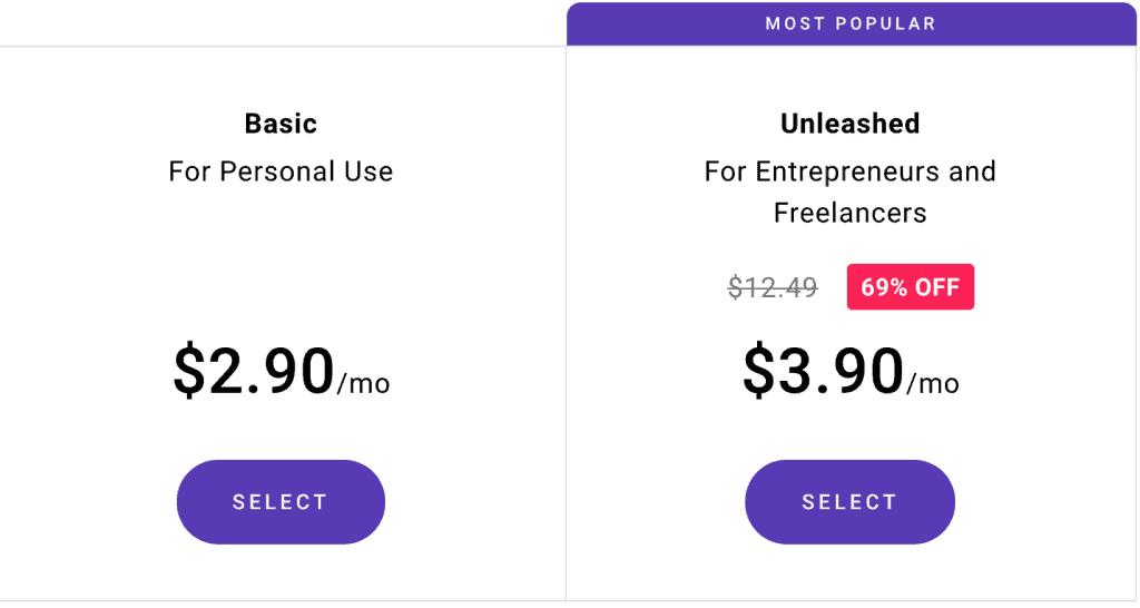 Zyro Website Builder Pricing